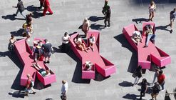 J. Mayer H. Fills Times Square With X-Shaped Lounge Chairs
