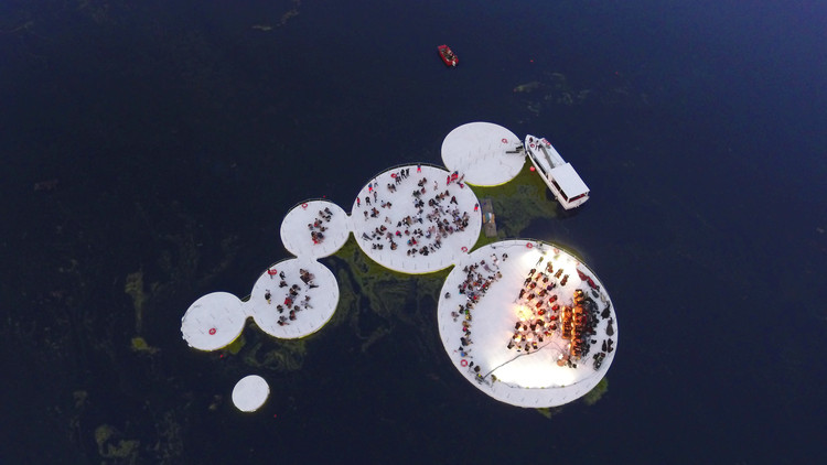 Walk on Water with Space Caviar's Floating Cultural Installation on Italian Lake, Courtesy of Space Caviar