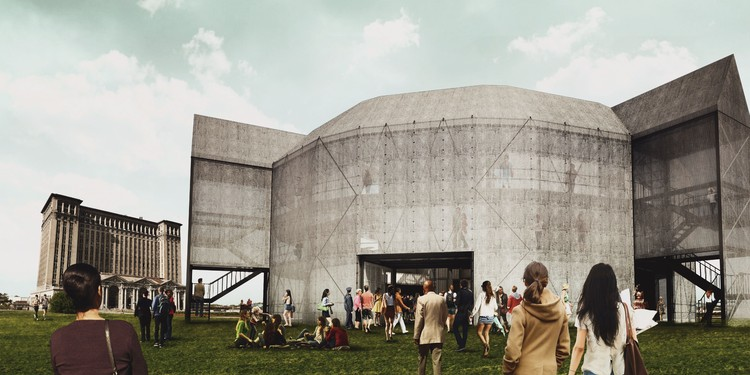 This Recreation of Shakespeare's Globe Theatre is Built with Shipping Containers, Globe by Michigan Station, Detroit. Image Courtesy of The Container Globe
