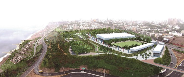 <a href='http://http://www.ipd.gob.pe/'>Proyecto en San Isidro para el Parque Malecón y Polideportivo de los Juegos Panamericanos Lima 2019</a>. Image vía IPD