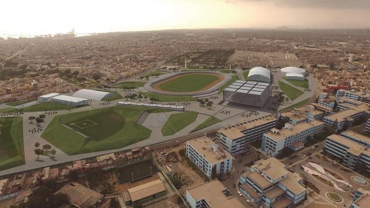 <a href='http://http://www.ipd.gob.pe/'>Proyecto para la Villa Deportiva Regional Callao de los Juegos Panamericanos Lima 2019</a>. Image vía IPD