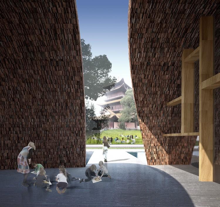 Vista al Pabellón Longzhu del piso de la sala de conferencias. Imagen cortesía de Studio Pei-Zhu