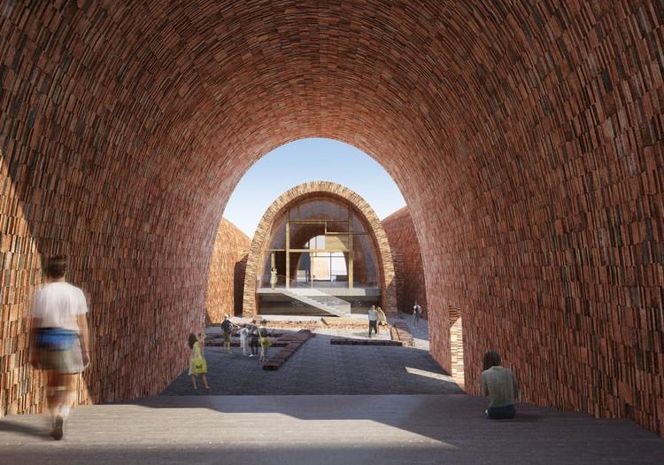 Studio Pei-Zhu diseña un museo abovedado inspirándose en antiguos hornos de cerámica, Vista a reliquias históricas. Imagen cortesía de Studio Pei-Zhu