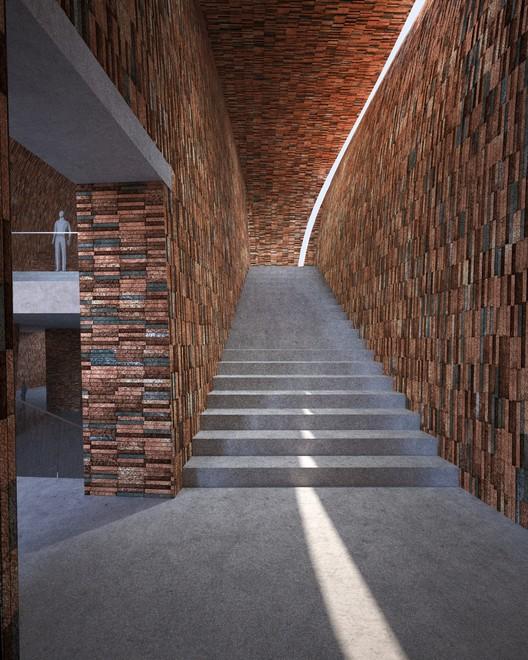 Escalera conectando los distintos niveles. Imagen cortesía de Studio Pei-Zhu