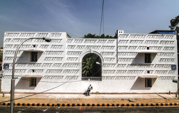DAKU Mounts Typography on Building Facade to Create Dynamic Mural Powered by the Sun, © St+art India