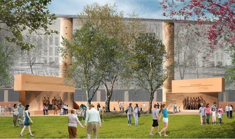 Frank Gehry's Eisenhower Memorial One Step Closer to Realization After Finally Receiving Family Support, Rendering from the memorial's most recent iteration. Image © Dwight D. Eisenhower Memorial Commission