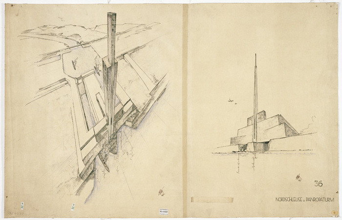 Call for Applications: 2017 Carter Manny Award, The recipient of the 2016 Carter Manny Award for doctoral dissertation writing is Hollyamber Kennedy, Columbia University, Graduate School of Architecture, Planning and Preservation. Peter Behrens, sketch of the Atlantropa Tower and North gate of the Gibraltar Dam, 1931, Munich, Germany. Courtesy of the Sörgel-Archiv, Das Deutsches Museum, Munich.