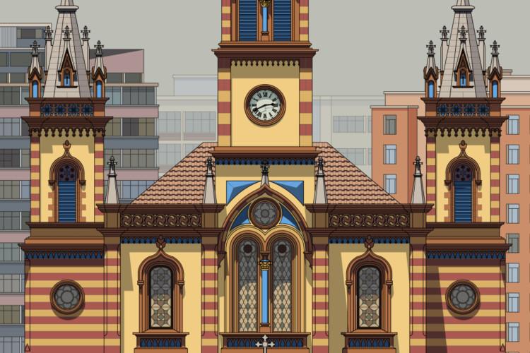 Igreja de São José, Belo Horizonte - fachada pós-restauro (pormenor da ilustração). Image © Zema Vieira