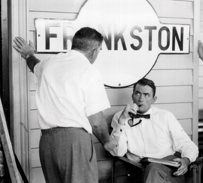 Frankston Station Design Competition, Gregory Peck at Frankston Station, during the filming of 'On The Beach' c. 1959. All Copyright Reserved.
