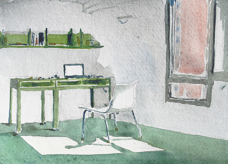 """Esta imagen fue enviada a nuestro desafío al lector """"dibuja tu espacio de trabajo"""". Para ver los 42 dibujos presentados, visita el artículo completo aquí <a href='http://www.archdaily.com/796178/42-sketches-drawings-and-diagrams-of-desks-and-architecture-workspaces'> </a>. Imagen © Juan Carlos Figuera"""