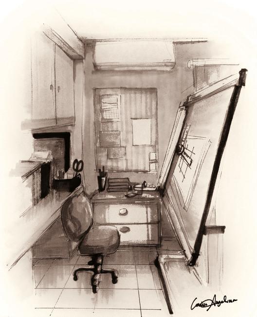 """Esta imagen fue enviada a nuestro desafío al lector """"dibuja tu espacio de trabajo"""". Para ver los 42 dibujos presentados, visita el artículo completo aquí <a href='http://www.archdaily.com/796178/42-sketches-drawings-and-diagrams-of-desks-and-architecture-workspaces'> </a>. Imagen © Louise Angelina"""