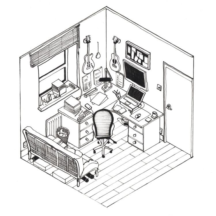 """Esta imagen fue enviada a nuestro desafío al lector """"dibuja tu espacio de trabajo"""". Para ver los 42 dibujos presentados, visita el artículo completo aquí <a href='http://www.archdaily.com/796178/42-sketches-drawings-and-diagrams-of-desks-and-architecture-workspaces'> </a>. Imagen © Dovydas Krasauskas"""
