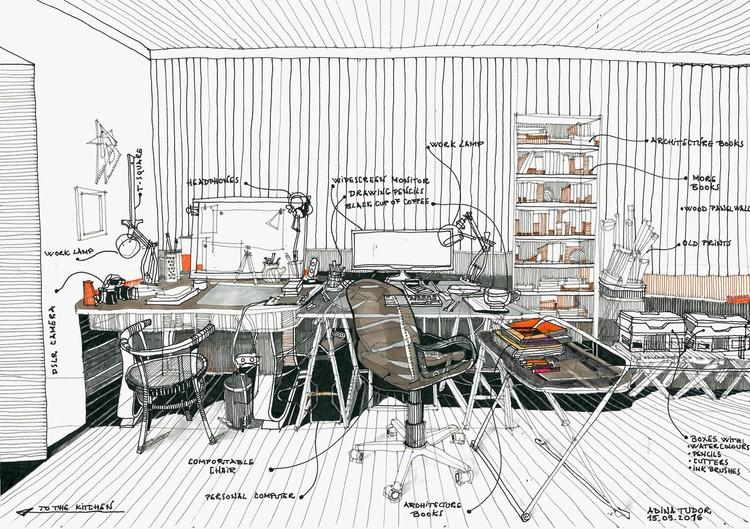 """Esta imagen fue enviada a nuestro desafío al lector """"dibuja tu espacio de trabajo"""". Para ver los 42 dibujos presentados, visita el artículo completo aquí <a href='http://www.archdaily.com/796178/42-sketches-drawings-and-diagrams-of-desks-and-architecture-workspaces'> </a>. Imagen © Tudor Adina-Mihaela"""