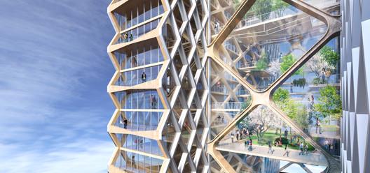 Balcones exteriores. Imagen cortesía de River Beech Tower