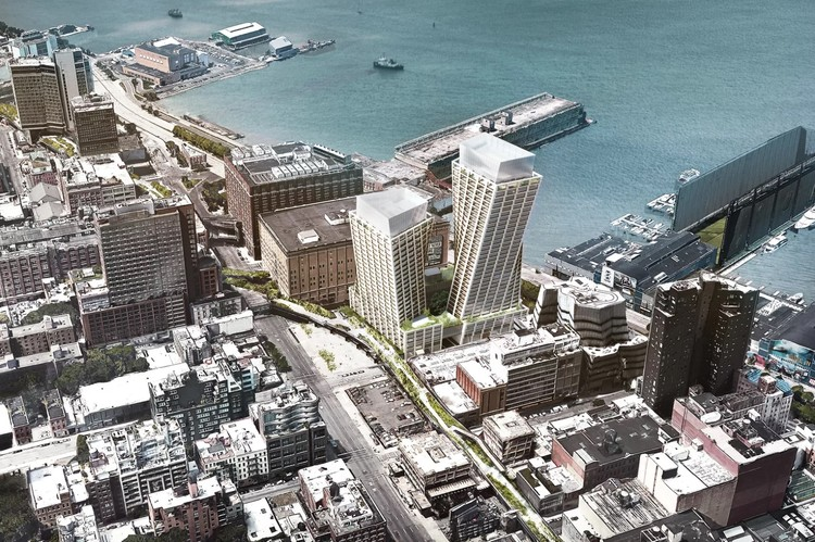 BIG's Twisting Towers along the High Line Will Contain Condos & a Luxury Hotel, Image by BIG. Image via Curbed NY