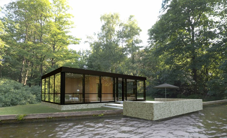 Modular Glass House by Philip Johnson Alan Ritchie Architects. Image Courtesy of Revolution Precrafted