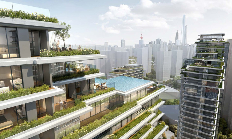 CITIC Pacific High-Rise Development in Shanghai Beautifully Combines Natural With The Artificial , Courtesy of EID