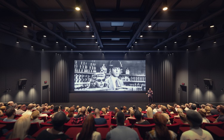 Lenfest Center for the Arts: The Katharina Otto-Bernstein Screening Room.  Image © Renzo Piano Building Workshop y Davis Brody Bond, Render por Dionysios Tsagkaropoulos