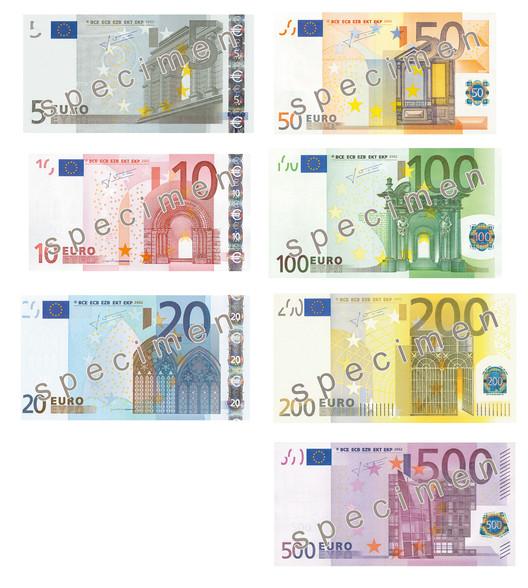 European Banknotes: €5 – Classical; €10 – Romanesque; €20 – Gothic; €50 – Renaissance; €100 – Baroque; €200 – Art Nouveau; €500 – Modernism