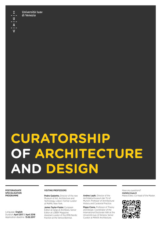 Call for Applications: Postgraduate Master in Curatorship of Architecture and Design, Postgraduate Master in Curatorship of Architecture and Design
