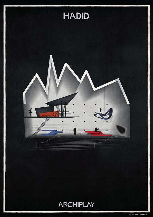 Las ilustraciones ARCHIPLAY de Federico Babina imaginan escenografías diseñadas por renombrados arquitectos, © Federico Babina