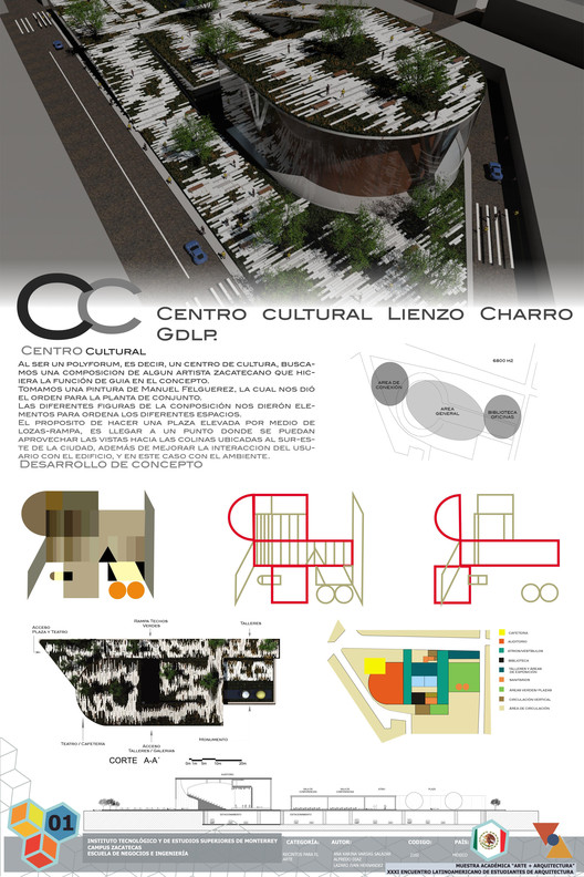 Tercer Lugar / Centro Cultural Lienzo Charro. Image Cortesía de XXXI ELEA
