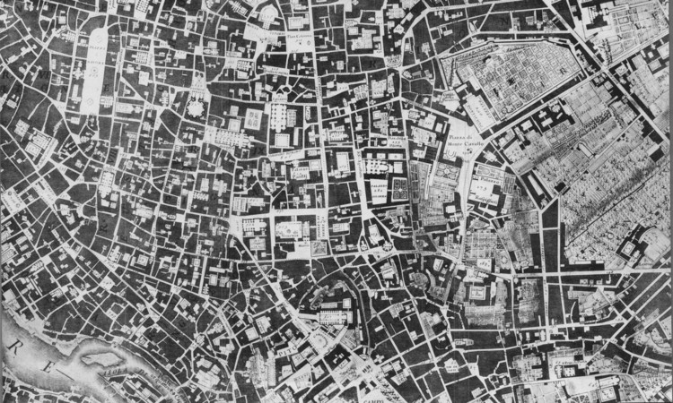 Section of Giambattista Nolli's 1748 map of Rome. Image <a href='http://www.lib.berkeley.edu/EART/maps/nolli.html'>via UC Berkeley Library</a> (Public Domain)