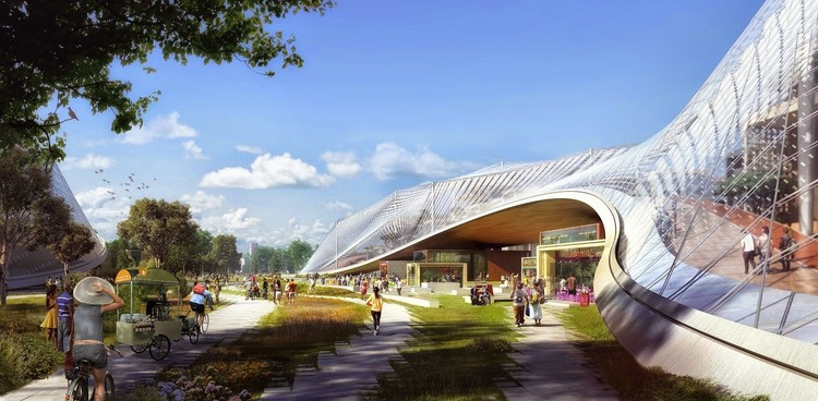 Googleplex, el diseño de BIG & Heatherwick Studio en Mountain View, California. Imagen © Google / BIG / Heatherwick Studio