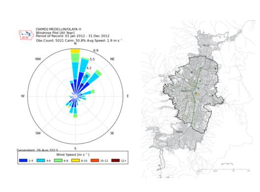 Velocidad del viento en Medellín. Image Cortesía de Saalman Craig