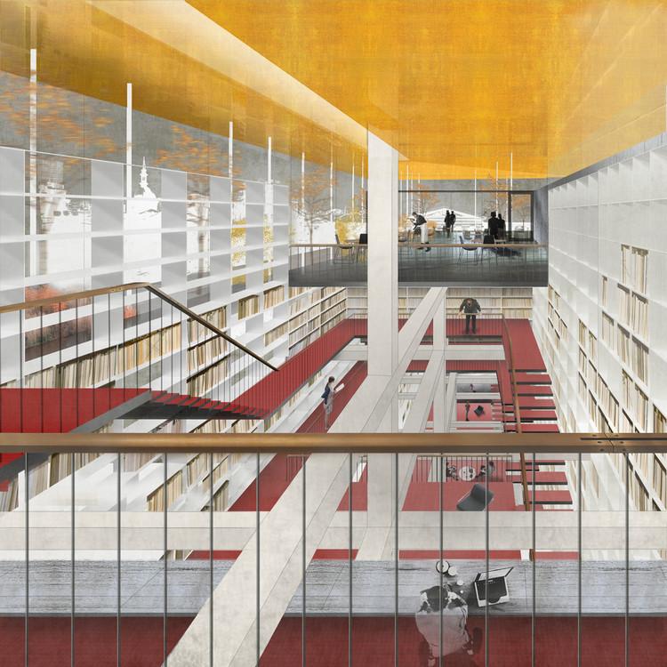 La oficna Beals+Lyon ganó el primer lugar de la rehabilitación de la Biblioteca del Congreso Nacional en 2013. Image Cortesía de Ministerio chileno de Obras Públicas (MOP)