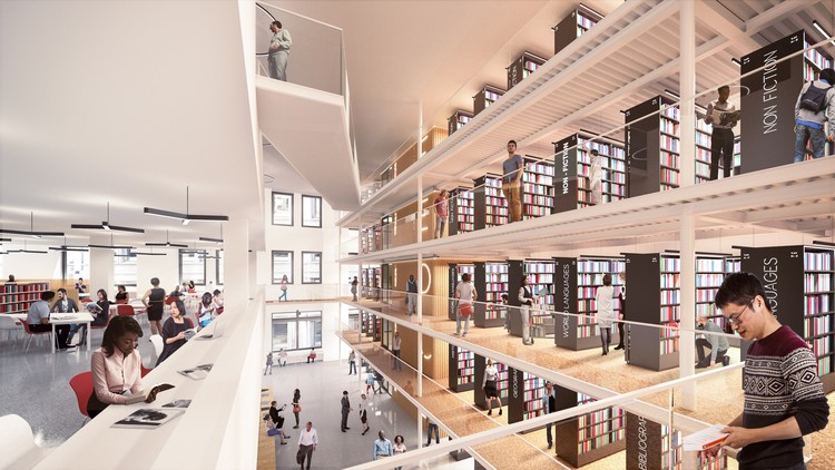 "First Renderings Revealed of Mecanoo + Beyer Blinder Belle's New York Public Library Renovation, View of the ""Long Room"". Image © Mecanoo with Beyer Blinder Belle"