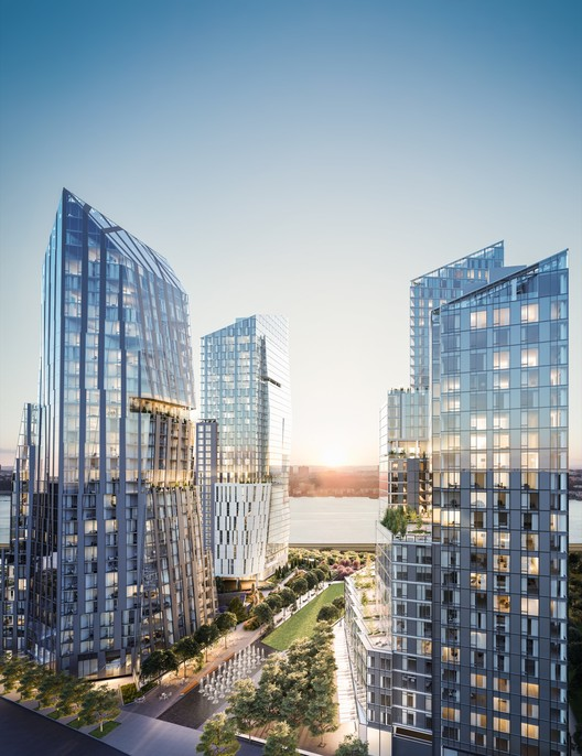 'Waterline Square', el proyecto residencial que reunirá a Meier, Viñoly + KPF en Nueva York, De izquierda a derecha: Three Waterline Square (Viñoly), One Waterline Square (Richard Meier) y Two Waterline Square (KPF). Imagen © Noe & Associates with The Boundary