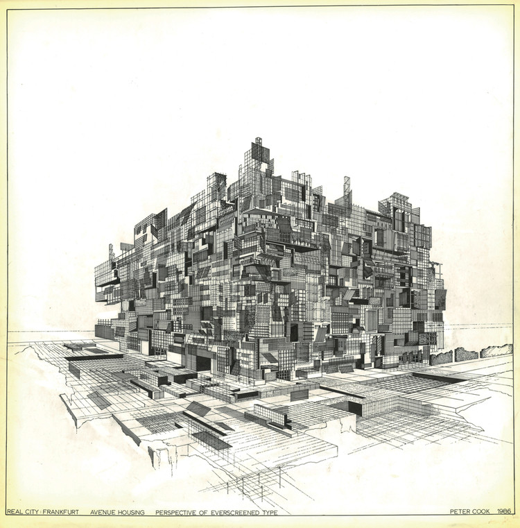 Peter Cook. REAL CITY: Perspective of Everscreened Type, 1986, tracing paper, ink, 64 x 62 cm © Peter Cook