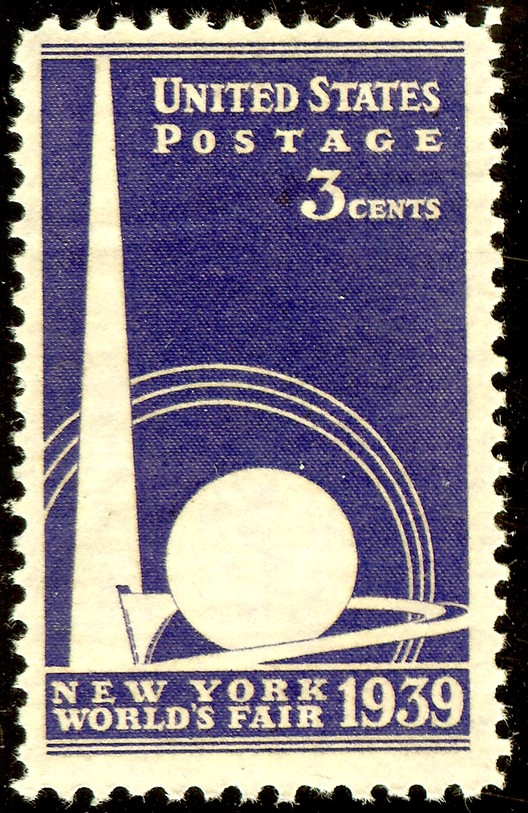 A commemorative postage stamp was one of the many pieces of memorabilia to bear the likeness of the Trylon and Perisphere. ImageCourtesy of Wikimedia user Ecphora (Public Domain)