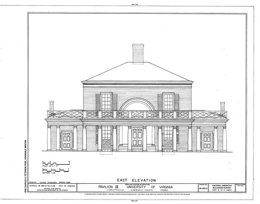 This elevation of Pavilion IX showcases its radically different style from its neighbor below; only the uniform use of red brick and painted white wood tied the campus together aesthetically. ImageCourtesy of US Library of Congress (Public Domain)