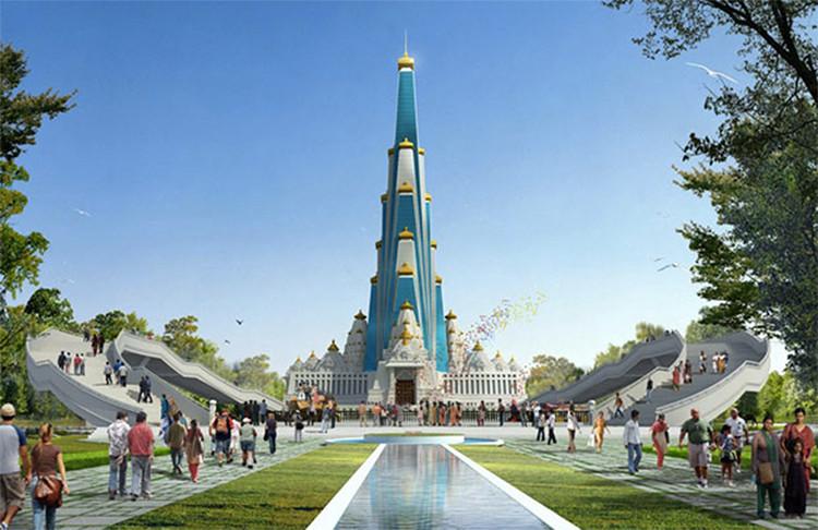 En India se da inicio a la construcción del edificio religioso más alto del mundo, Cortesía de Vrindavan Chandrodaya Mandir, InGenious Studio