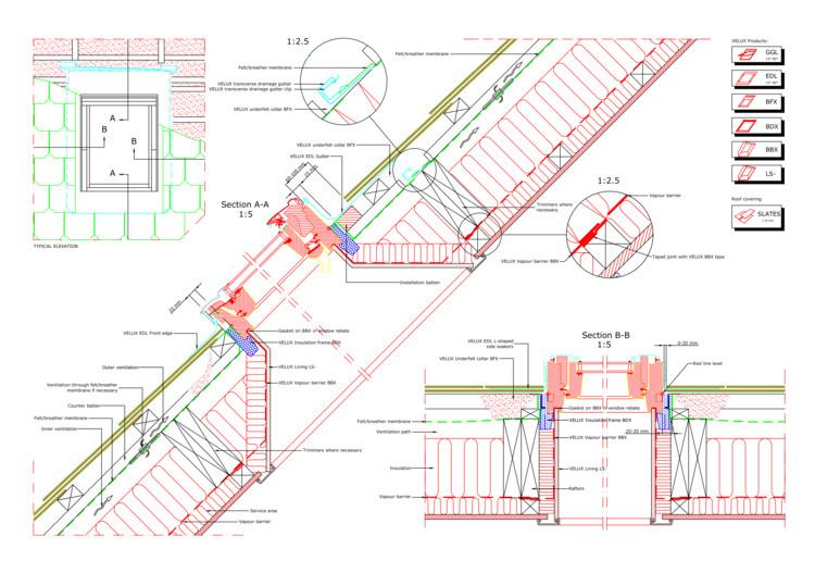 Descarga archivos CAD para tu proyecto: ventanas para techos, GGL single standard install into natural slate © Velux