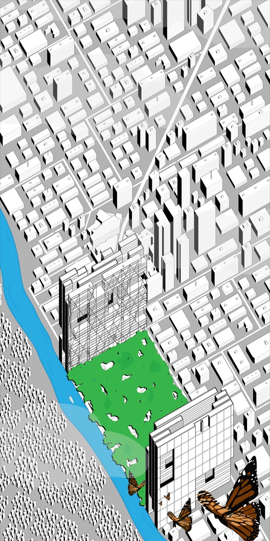 Open Call: Urban Design for Co Existence in São Paulo, This entry for the competition proposes a new lush core to this specific industrialized area of Sao Paulo, Brazil.