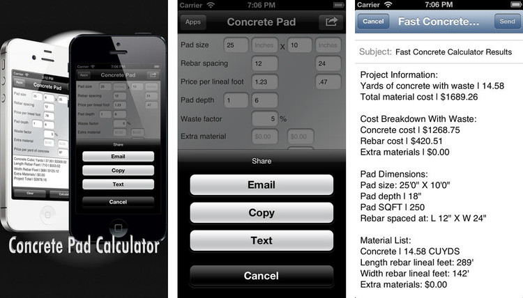 Fast Concrete Pad Calculator, vía iTunes