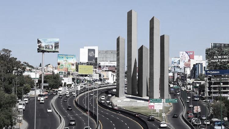 Este proyecto transforma las Torres de Satélite en mausoleos para Barragán, Goeritz y Reyes, Cortesía de Israel López Balan