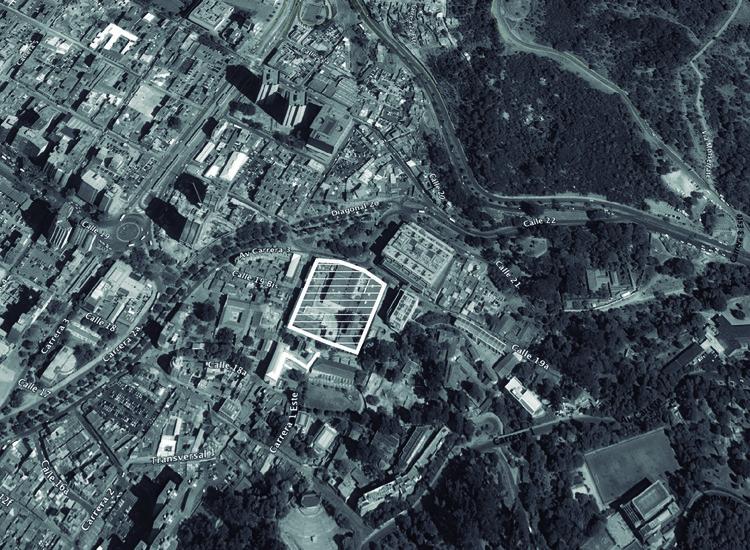 Localización: Centro Cívico Universidad de Los Andes / Cristián Undurraga + Konrad Brunner . Image © Richard Gerald. Imagen base: Google Maps