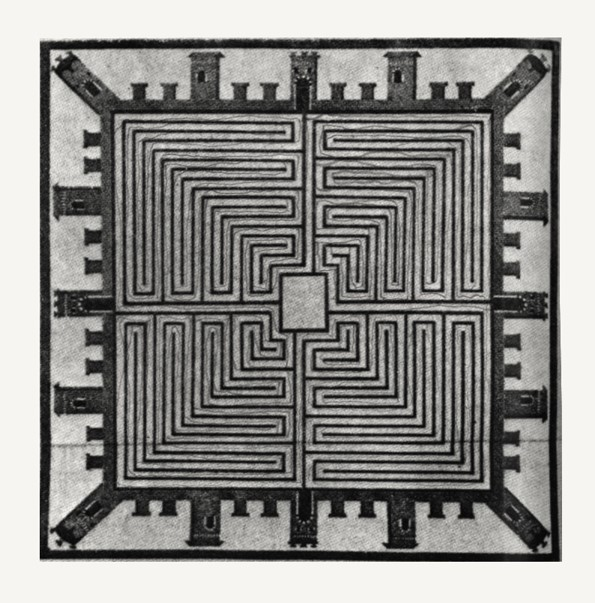Roman mosaic from the end of the Republic showing a fortified labyrinth. (1st century BC)  Rykwert, Joseph. The Idea of a Town: The Anthropology of Urban Form in Rome, Italy, and The  Ancient World Madrid: Hermann Blume, 1976. p. 166.