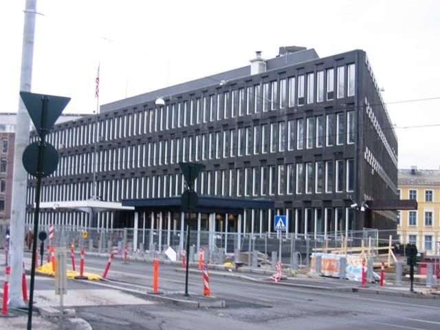 US Embassy in Oslo. Designed by Eero Saarinen. Image © Wikimedia CC user Bjørn Erik Pedersen. Licensed under CC BY-SA 3.0