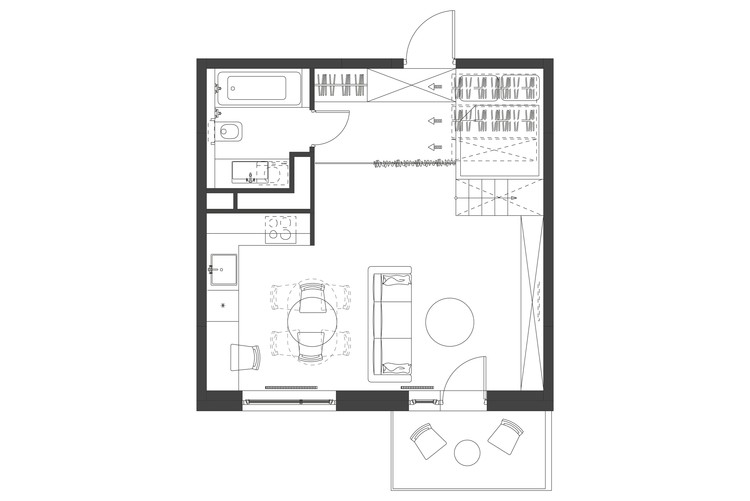 35m2 flat studio bazi archdaily for Small apartment layout plans