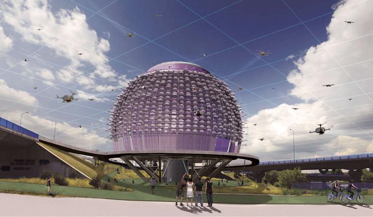 Urban Droneport, imaginando la infraestructura necesaria para transportar mercancía en drones, Cortesía de Saúl Ajuria Fernández