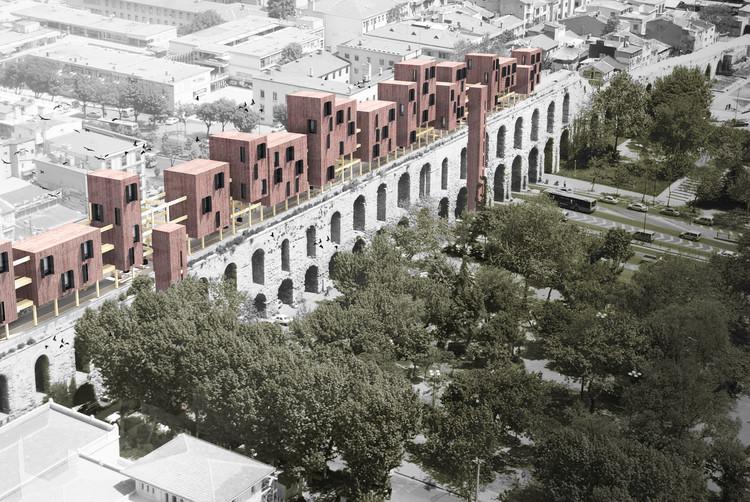 Diseño ganador propone una nueva estructura de madera sobre un acueducto del siglo 4 en Estambul , Cortesía de Superspace