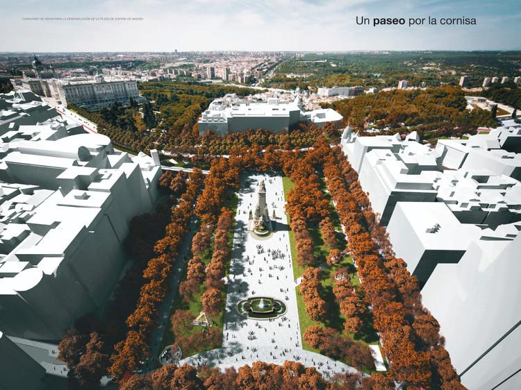 'Un paseo por la cornisa', proyecto finalista para remodelar la Plaza de España en Madrid, Propuesta finalista 'Un paseo por la cornisa'. Image vía Ayuntamiento de Madrid