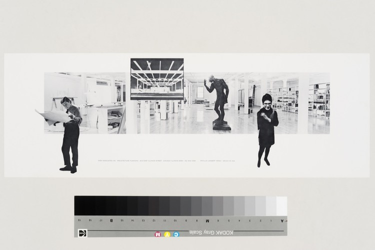Composite photograph of Phyllis Lambert and David Fix in their Chicago studio (1970). Courtesy of the CCA. . Image © Pier Associates