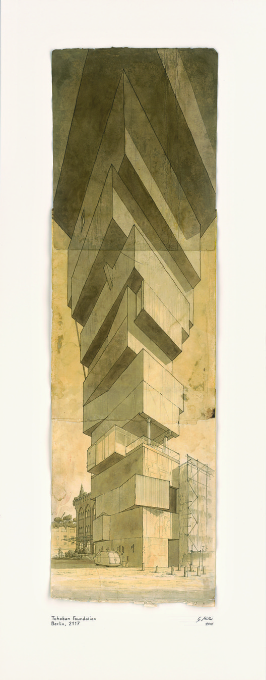 GOTTFRIED MÜLLER / Tchoban Foundation Berlin, 2117. Indian Ink, watercolour on old paper, 95 x 45 cm (2016)