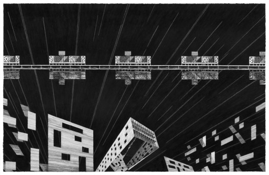 GARY SCHUBERTH / I Dream About Buildings. Graphite pencil on paper, 104 x 168 cm / 84 x 137 cm (2016)